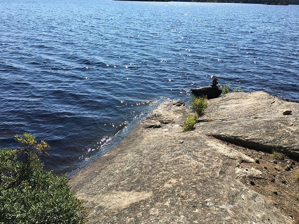 Burntroot Lake Campsite #14 canoe landing on west tip of island