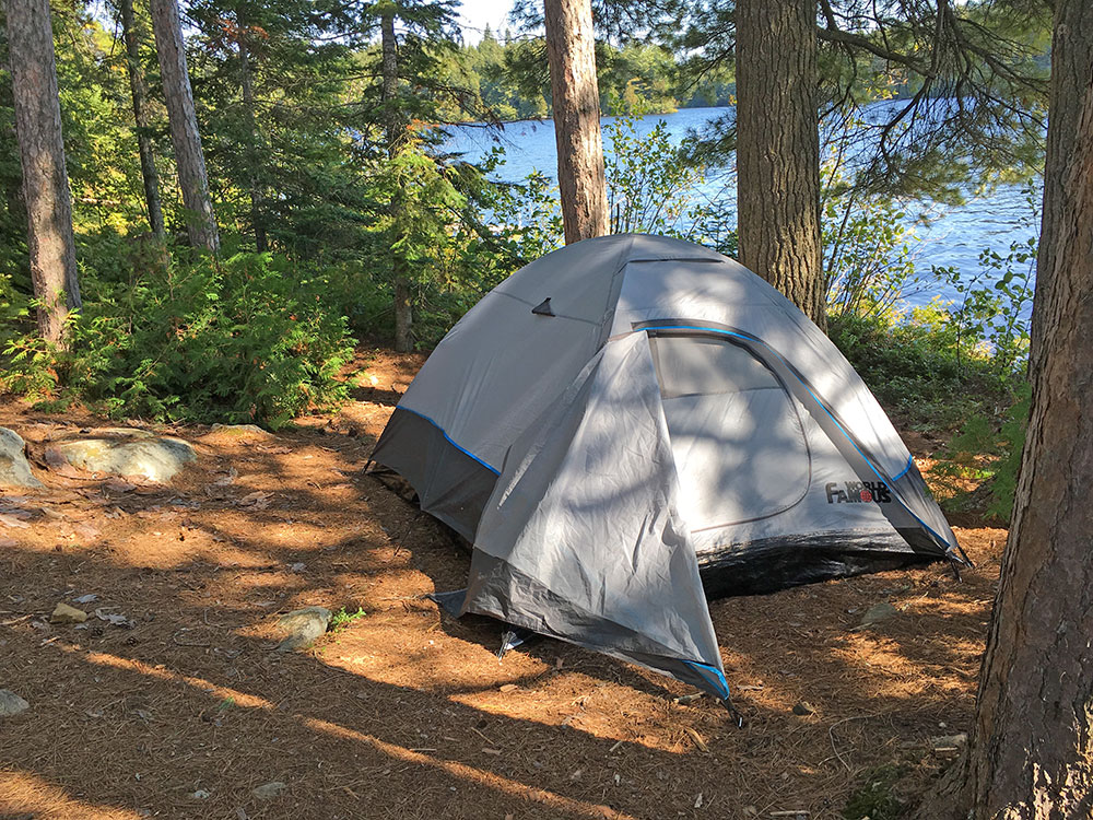 Burntroot Lake Campsite #14 pitched tent