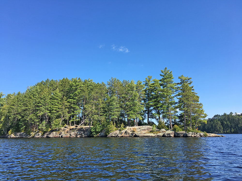 Burntroot Lake Campsite #14 view from water, northwest side of island
