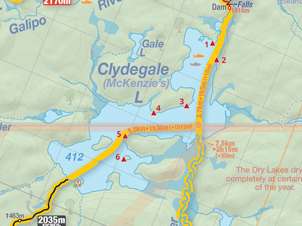 Map of Clydegale Lake campsites in Algonquin Park