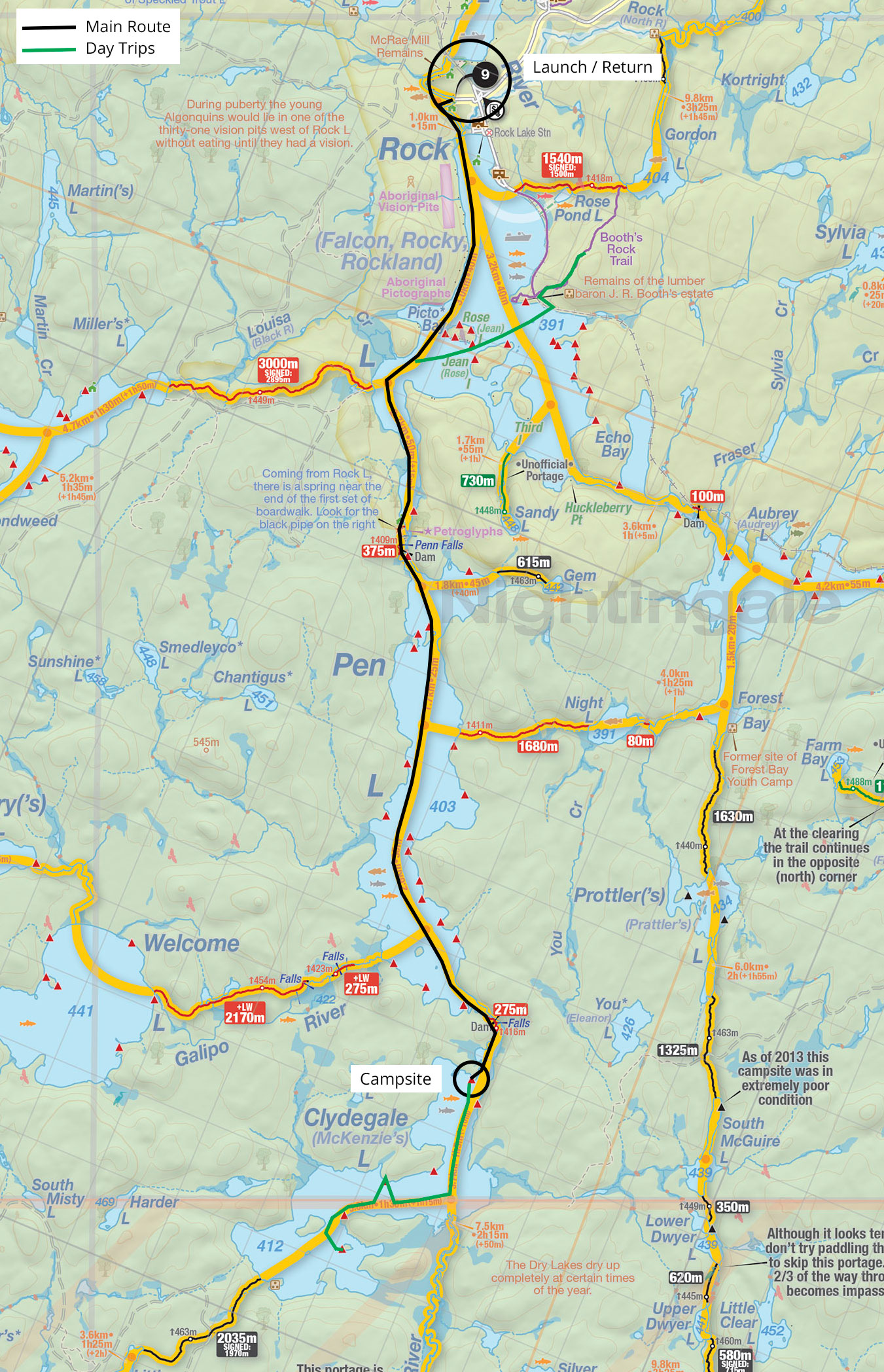 Map and trip details of my trip to Clydegale Lake in Algonquin Park