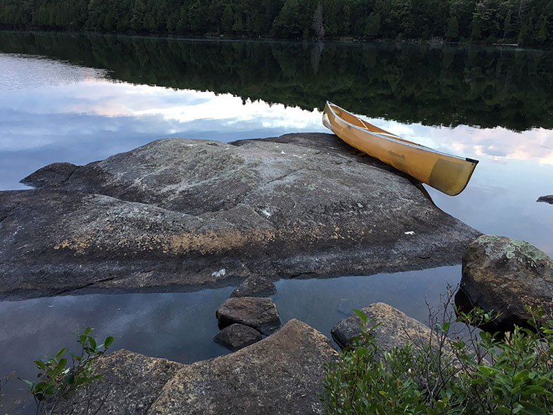 David Lake campsite #1 large rock in the water on the north side of the campsite