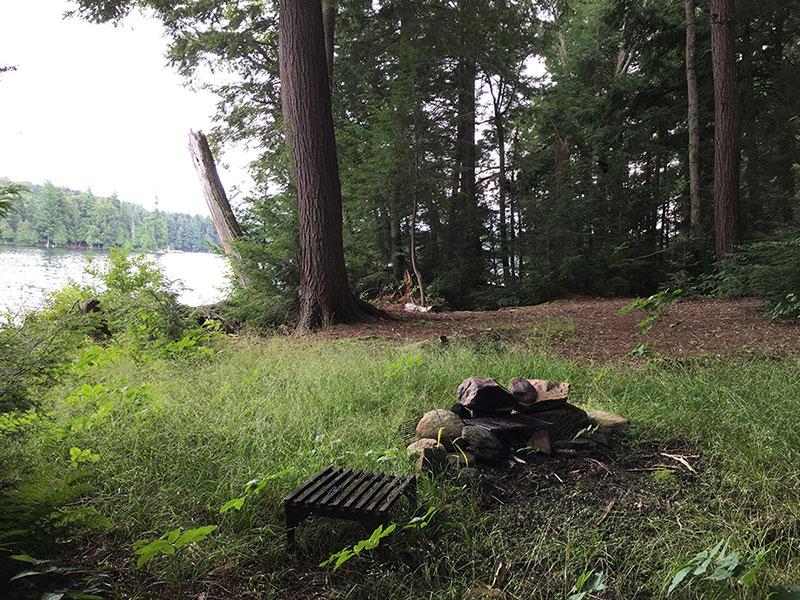 David Lake campsite #2 fire pit and interior of campsite