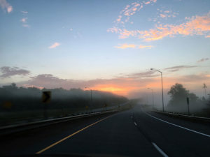 Sunrise during the drive to Algonquin Park