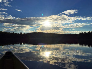 An evening canoe paddle on Sproule Lake in Algonquin