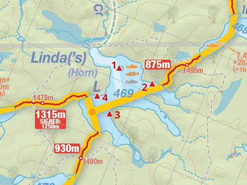 Map of Linda Lake campsites in Algonquin Park