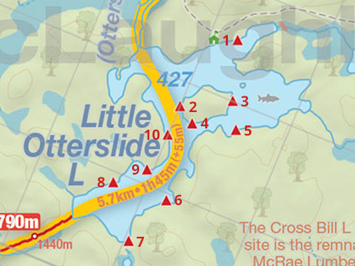 Map of Little Otterslide Lake Campsites in Algonquin Park