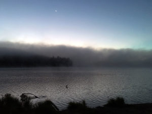 Thick clouds of fog during early morning on Linda Lake