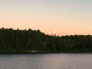 Early moonrise on Clydegale Lake in Algonquin