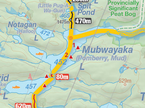 Map of Mubwayaka Lake campsites in Algonquin Park