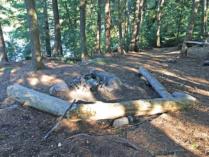 Pen Lake campsite #13 fire pit and seating area