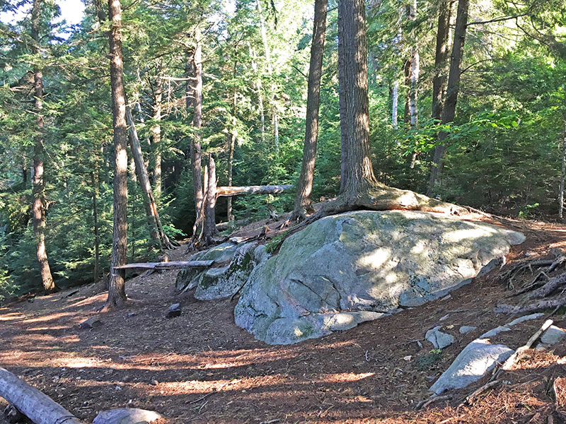 Pen Lake campsite #13 large rock in the middle of the campsite
