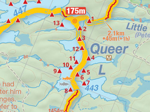 Map of Queer Lake campsites in Algonquin Park