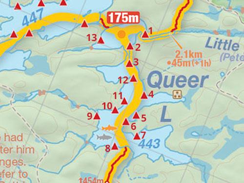 Map of Queer Lake campsites in Algonquin Park