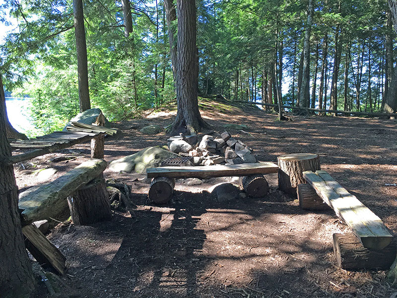 Ralph Bice Lake campsite #3 fire pit and seating area