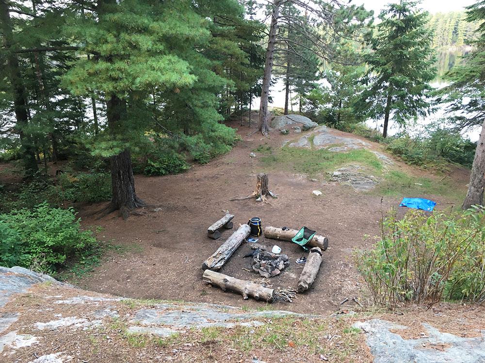 Sunbeam Lake campsite #7 aerial view of interior of site