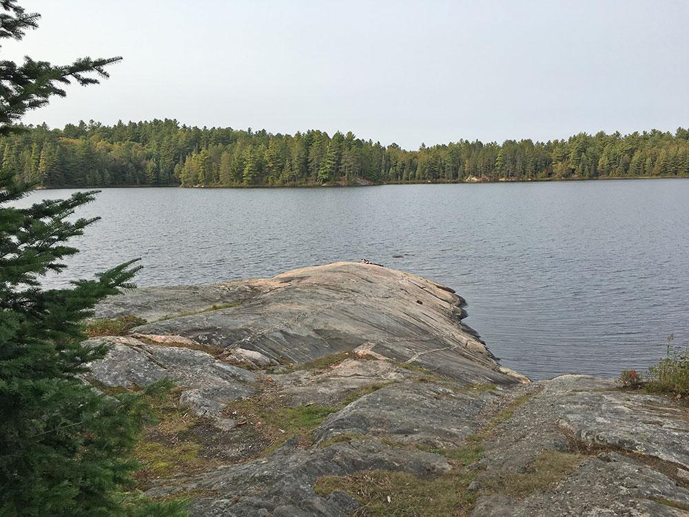 Sunbeam Lake campsite #7 one of many jutting rocks on the island