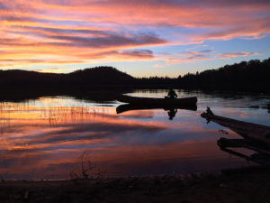Canoeing on Byers Lake during a beautiful sunset