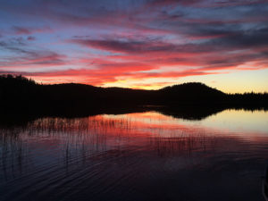 A beautiful sunset on Byers Lake with red and purple colours