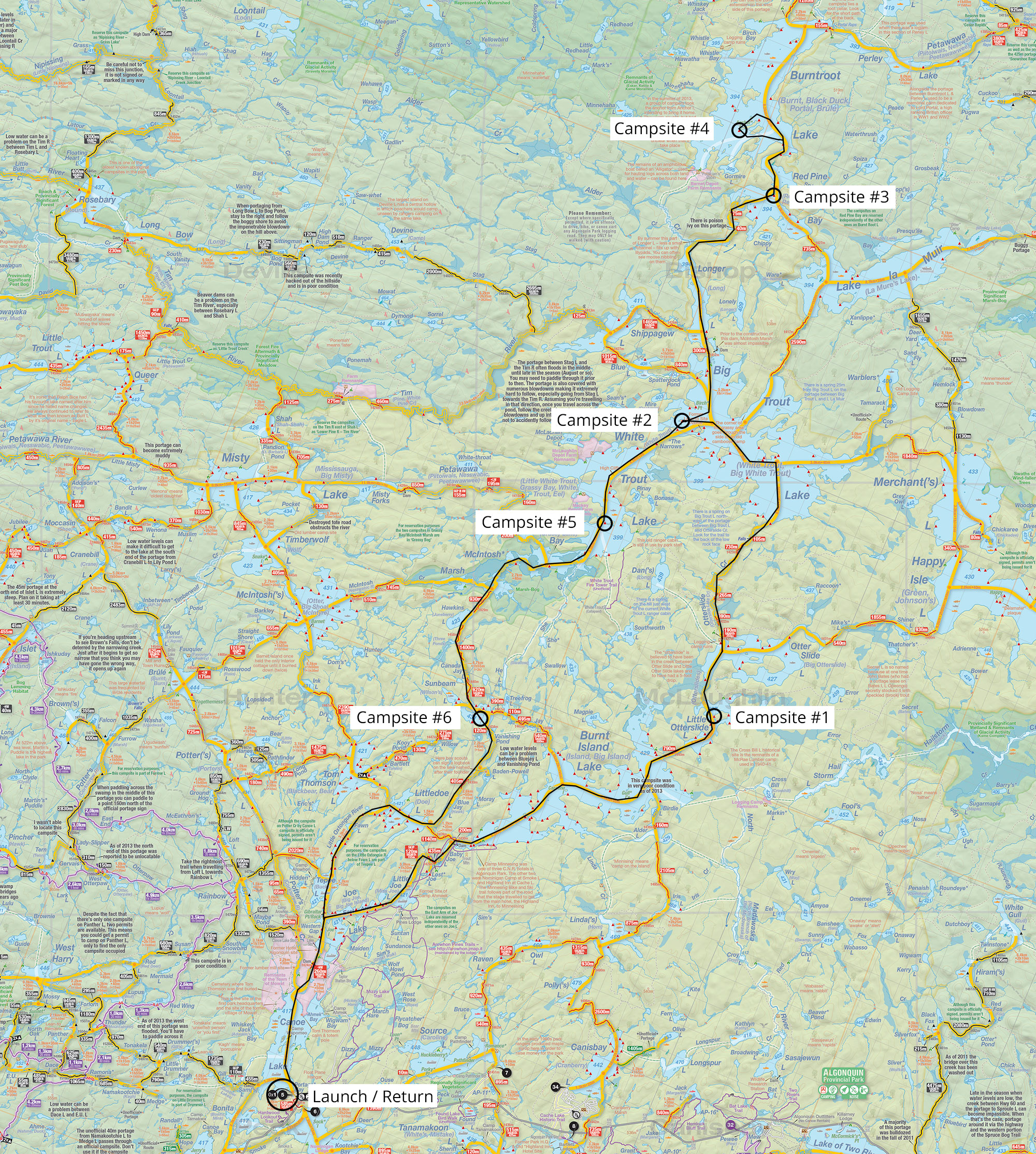 Map of trip details and campsites for trip of six islands