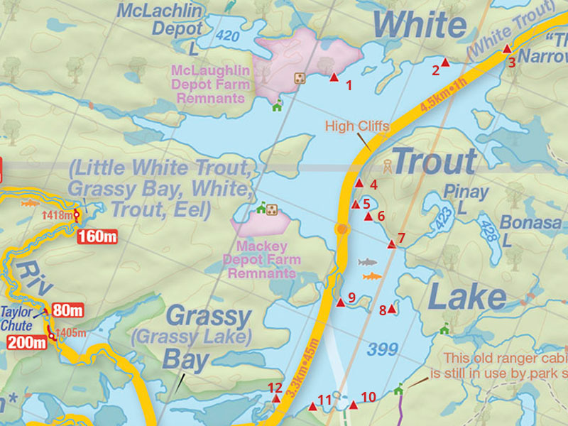 Map of White Trout Lake campsite map in Algonquin Park