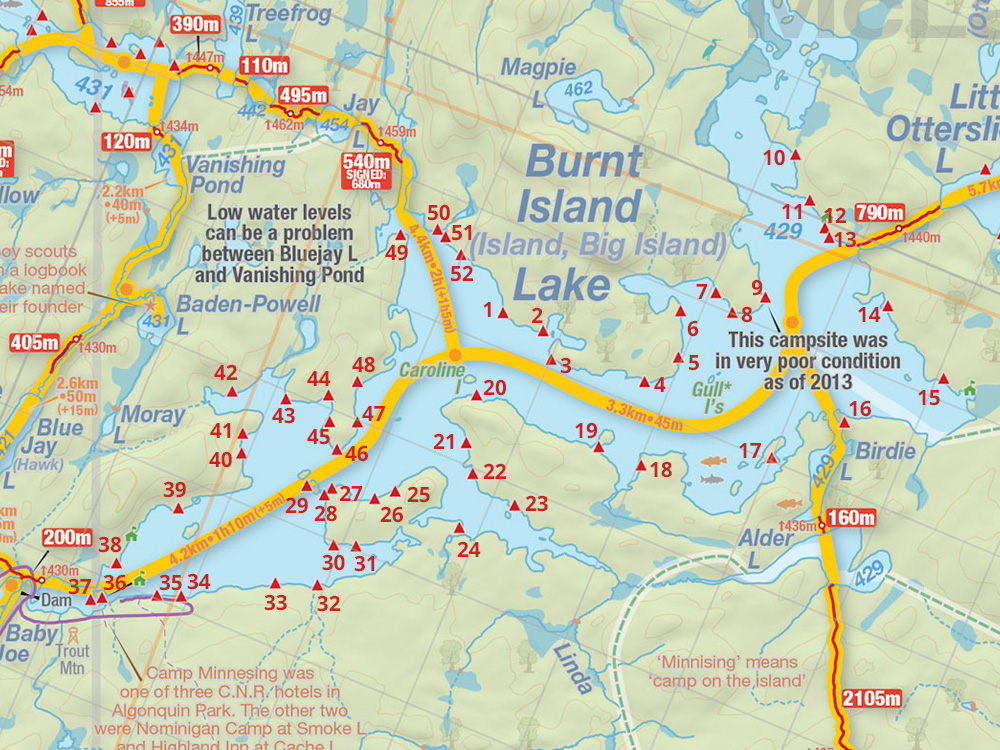 Map of Burnt Island Lake campsites