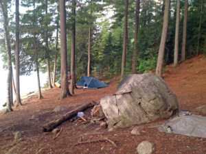 Interior view of my campsite on Burnt Island Lake