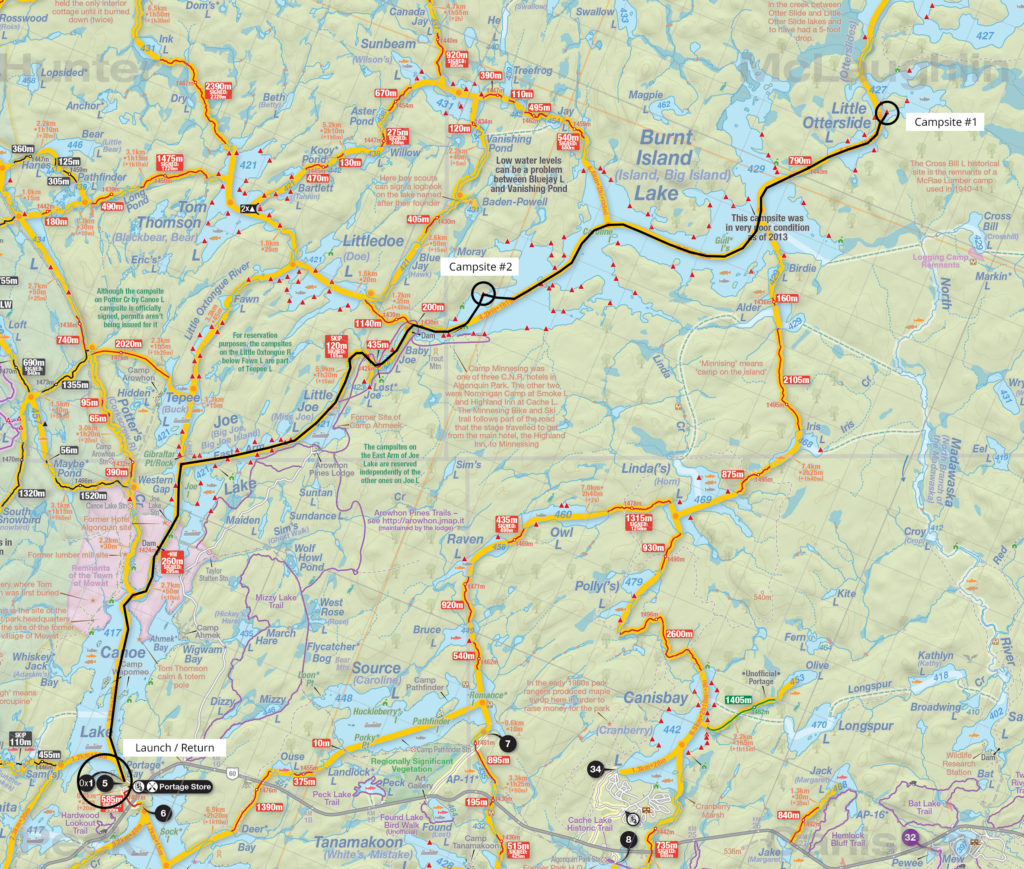 Map and trip details of my first solo canoe trip in Algonquin Park