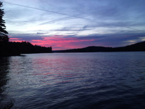 A red sky during the sunrise on Lake Louisa
