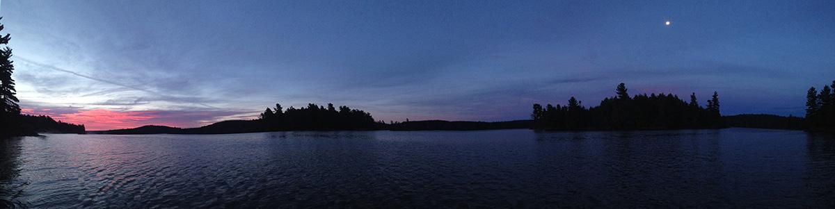 Start of a sunrise on Lake Louisa in Algonquin Park