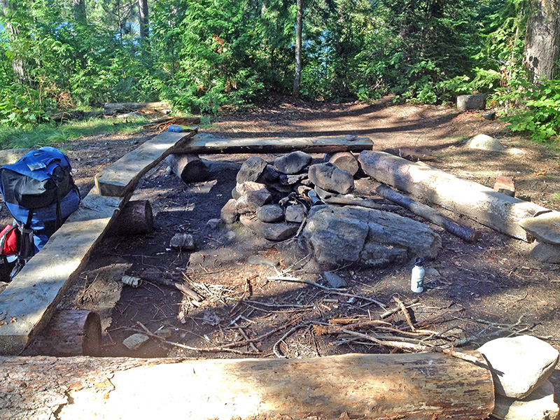 Little Otterslide Lake campsite #4 fire pit and seating area