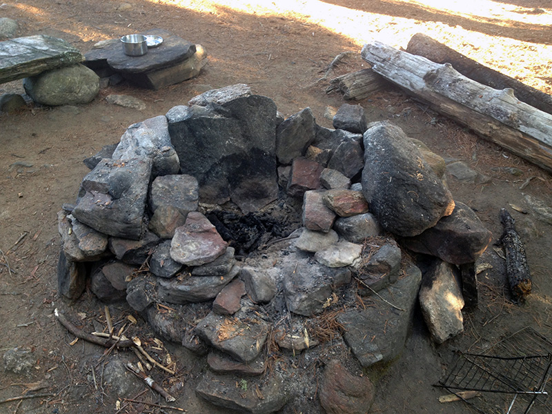 Fire pit at the island campsite on Otterslide Lake