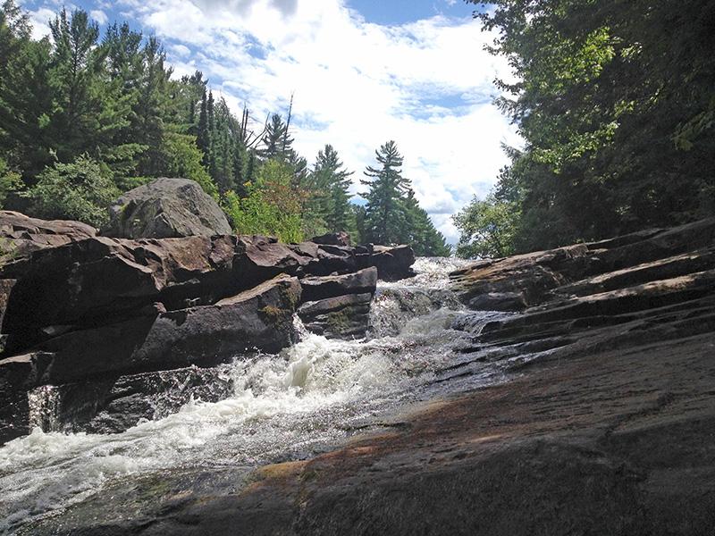 Penn Falls in between Penn Lake and Rock Lake
