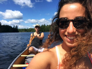 Paddling during a sunny day on Lake Louisa in Algonquin