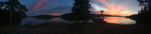 Panorama from our campsite in Algonquin during the sunrise