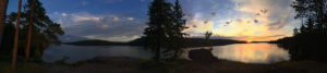 Panorama during the sunrise while camping on Lake Louisa