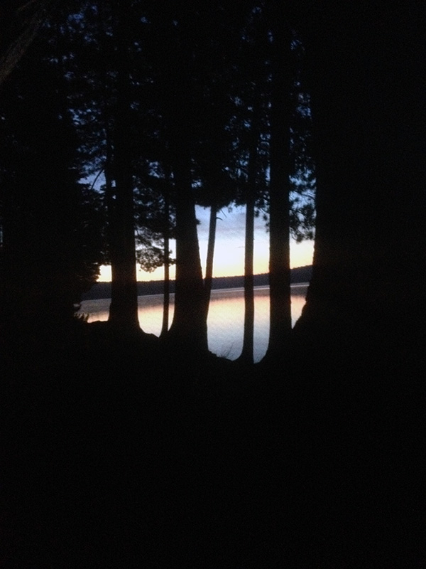 View of the sunrise from my tent on Burnt Island