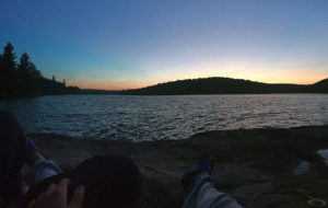 Watching the sunset from our campsite on Louisa in Algonquin