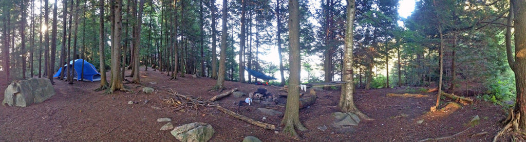 Welcome Lake campsite #4 interior of campsite panorama