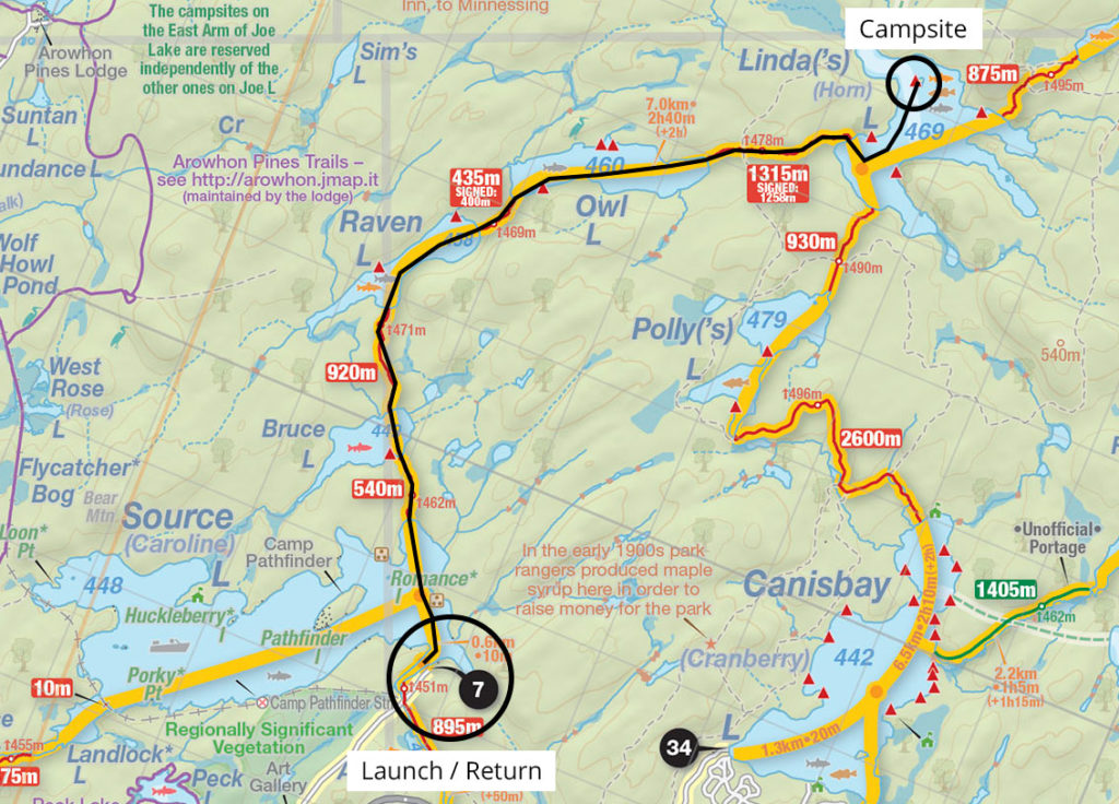Map and trip details of my canoe trip to Linda Lake in September 2016