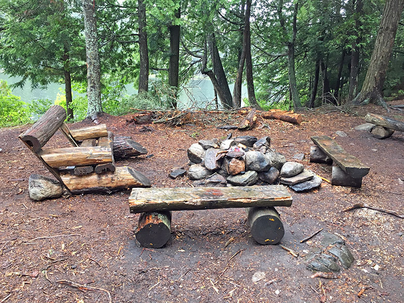 Bonnechere Lake campsite #1 fire pit and seating area