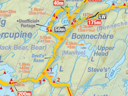 Map of Bonnechere Lake campsites in Algonquin Park