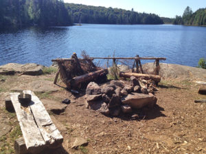 Fire pit and seating area for the island campsite on Linda Lake as of 2016