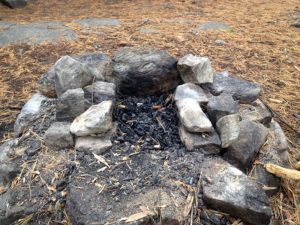 Newly arranged fire pit at my island campsite on Harness Lake