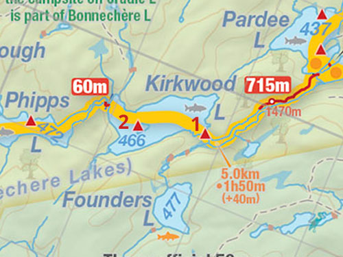 Map of Kirkwood Lake campsites in Algonquin Park