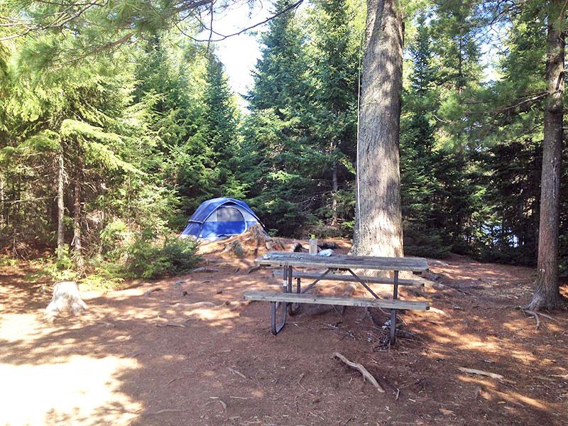 Linda Lake Campsite #1 in 2016, interior of the island campsite