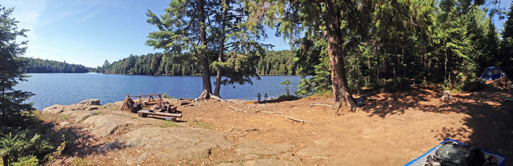 Linda Lake Campsite #1 in 2016, panorama interior view of the island campsite