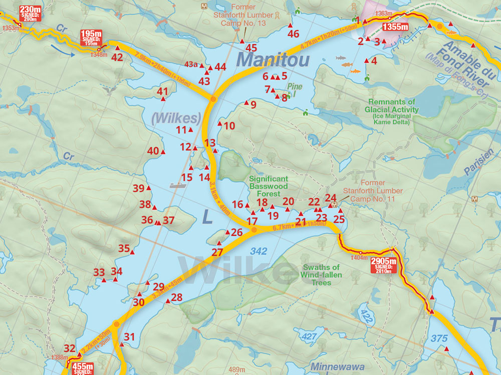 Map of Manitou Lake campsites in Algonquin Park