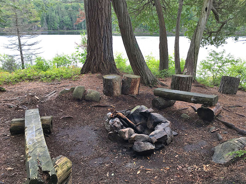 Pardee Lake campsite #2 fire pit and seating area