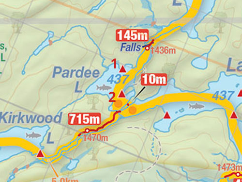Map of Pardee Lake campsites in Algonquin Park